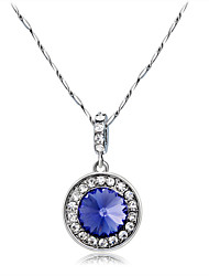 cheap -Women's Purple Crystal Pendant Necklace Sweet Fashion Elegant Zircon Copper Silver Plated Silver 43 cm Necklace Jewelry 1pc For Daily Evening Party Formal