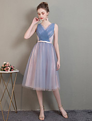 cheap -Sheath / Column Off Shoulder Medium Length Tulle Bridesmaid Dress with Pleats