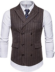 cheap -Men's Vest Shawl Lapel Polyester Brown / Dark Gray
