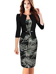 cheap -Women's Slim Bodycon Dress - Floral Black S M L XL