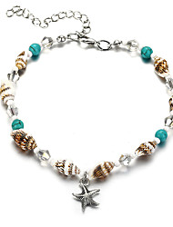 cheap -Women's Ankle Bracelet Tropical Starfish Shell Casual / Sporty Ethnic Fashion Shell Anklet Jewelry Turquoise For Carnival Street Holiday Bikini