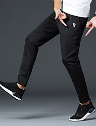 cheap -Men's Running Pants Track Pants Sports Pants Athletic Pants / Trousers Athleisure Wear Drawstring Cotton Sport Gym Workout Lightweight Windproof Breathable Plus Size Black Solid Colored Fashion