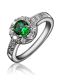cheap -Women's Ring Engagement Ring Cubic Zirconia 1pc Red Green Blue 18K Gold Plated Imitation Diamond Round Stylish Luxury Romantic Party Engagement Jewelry Classic Halo Lovely