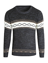 cheap -Men's Daily / Weekend Basic Geometric Long Sleeve EU / US Size Skinny Regular Pullover Sweater Jumper, Round Neck Spring / Fall / Winter Black / White / Blue M / L / XL