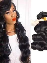 Недорогие -4 Связки Бразильские волосы Естественные кудри Не подвергавшиеся окрашиванию Необработанные натуральные волосы Человека ткет Волосы Пучок волос One Pack Solution 8-28 дюймовый Естественный цвет