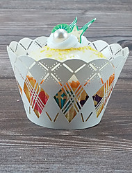 cheap -Round Pearl Paper Favor Holder with Wave-like Cupcake Wrapper and Boxes - 50