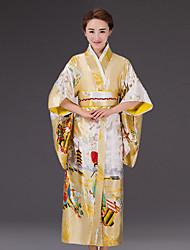 abordables -Geisha Adulte Femme Kimonos Tenue Kimono Un peignoir Pour Halloween Usage quotidien Festival Polyester Veste Kimono Ceinture de Tour de Taille