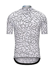 cheap -Men's Short Sleeve Cycling Jersey White Bike Jersey Top Sports Terylene Clothing Apparel / High Elasticity