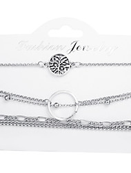 cheap -5pcs Women's Chain Bracelet Wrap Bracelet Pendant Bracelet Layered Leaf Simple Fashion Alloy Bracelet Jewelry Silver For Holiday Going out Work