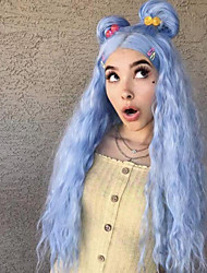 cheap -Synthetic Lace Front Wig Natural Wave Middle Part Lace Front Wig Long Sky Blue Synthetic Hair 22-26 inch Women's Heat Resistant Women Hot Sale Blue / Glueless