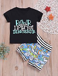 cheap -Baby Boys' Active / Basic Print Print Short Sleeve Regular Regular Cotton Clothing Set Black / Toddler
