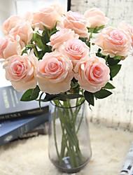 Недорогие -1шт искусственный цветок свадьба одинокая роза с цветочным фоном цветок настенная фотография набор