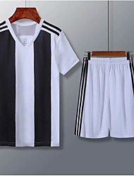 cheap -Men's Soccer Soccer Jersey and Shorts Clothing Suit Breathable Sweat-wicking Team Sports Active Training Football Stripes Polyester Adults Black / White
