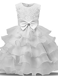 cheap -Princess Midi Wedding / First Communion Flower Girl Dresses - Lace / Tulle Sleeveless Jewel Neck with Bows / Belt / Bow(s)