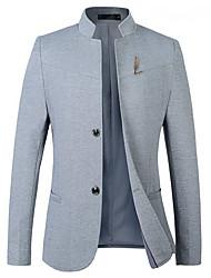 cheap -Men's Blazer Plus Size Notch Lapel Black / Navy Blue / Gray M / L / XL / Slim