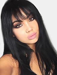cheap -Human Hair Wig Long Natural Straight Side Part Black Fashionable Design Hot Sale Comfortable Capless Women's Medium Auburn Jet Black Yellow 24 inch / Ombre Hair / Natural Hairline / Natural Hairline