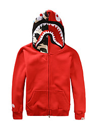 cheap -Shark Cosplay Costume Adults' Men's Halloween Halloween Masquerade Festival / Holiday Cotton Black / Red / Gray Men's Easy Carnival Costumes Patchwork / Hoodie