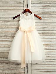 cheap -A-Line Tea Length Flower Girl Dress - Lace / Satin / Tulle Sleeveless Jewel Neck with Belt / First Communion
