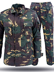 cheap -Men's Camo Hiking Jacket with Pants Long Sleeve Outdoor Breathable Quick Dry Sweat-wicking Wear Resistance Clothing Suit Autumn / Fall Spring Cotton Blend Camouflage Hunting Camping / Hiking / Caving