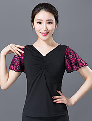 cheap -Ballroom Dance Top Pattern / Print Ruching Women's Training Performance Short Sleeve Polyester