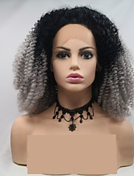 cheap -Synthetic Lace Front Wig Curly Afro Curly Layered Haircut Lace Front Wig Long Grey Synthetic Hair 24 inch Women's Women Ombre Hair Dark Gray Black Sylvia