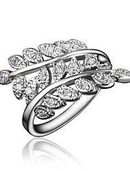 cheap -Women's Ring Cubic Zirconia 1pc Gold Silver 18K Gold Plated Imitation Diamond Stylish Luxury Romantic Party Engagement Jewelry Classic Leaf Lovely