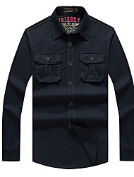 cheap -Men's Solid Color Hiking Shirt / Button Down Shirts Long Sleeve Outdoor Breathable Quick Dry Sweat-wicking Multi Pocket Shirt Top Autumn / Fall Spring 100% Cotton Navy Blue Army Green Traveling Indoor