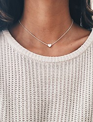 cheap -Women's Choker Necklace Pendant Necklace Classic Heart Fashion Elegant Silver Plated Gold Plated Gold Silver 40 cm Necklace Jewelry 1pc For Evening Party Holiday