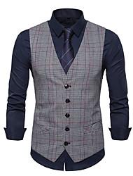 cheap -Men's Vest V Neck Polyester Brown / Dark Gray / Light gray / Slim