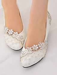 cheap -Women's Lace Spring &  Fall / Spring & Summer Sweet Wedding Shoes Cone Heel Rhinestone White / Party & Evening