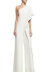 cheap -Women's Basic One Shoulder Black White Blue Jumpsuit Onesie, Solid Colored S M L