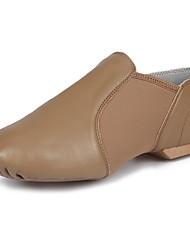 cheap -Men's Jazz Shoes Flat Flat Heel Dark Brown Elastic Slip-on / Performance / Practice