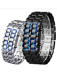 cheap -Men's Digital Watch Digital Outdoor Water Resistant / Waterproof Digital Black Red Blue / Stainless Steel / LCD
