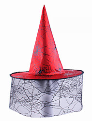 cheap -Witch Wizard Cosplay Costume Hat Adults' Men's Halloween Halloween Masquerade Festival / Holiday Tulle Fabric Orange / Red / Purple Carnival Costumes Printing