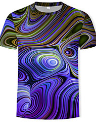 cheap -Men's T-shirt Abstract Graphic Print Tops Round Neck Purple