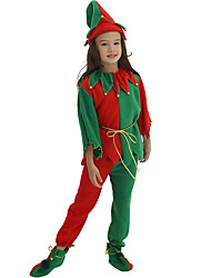 cheap -Santa Suit Cosplay Costume Kid's Boys' Halloween Christmas Christmas Halloween Carnival Festival / Holiday Polyster Rainbow Easy Carnival Costumes Patchwork / Top / Pants / Shoes / Hat / Waist Belt