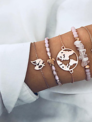 cheap -5pcs Women's Bead Bracelet Wrap Bracelet Pendant Bracelet Layered Maps Heart Turtle Simple Trendy Fashion Stone Bracelet Jewelry Pink For Daily Holiday Work