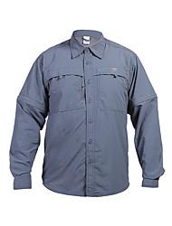 cheap -Men's Camo Hiking Shirt / Button Down Shirts Long Sleeve Outdoor UV Resistant Fast Dry Quick Dry Softness Convert to Short Sleeves Shirt Top Autumn / Fall Spring Cotton Cotton Blend Green Grey Khaki