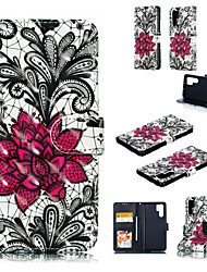 cheap -Case For Huawei Huawei P20 / Huawei P20 Pro / Huawei P20 lite Wallet / Card Holder / with Stand Full Body Cases 3D Cartoon / Lace Printing Hard PU Leather