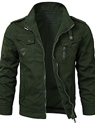 cheap -Men's Daily / Holiday Punk & Gothic / Military Spring & Summer / Fall & Winter Short Jacket, Solid Colored Shirt Collar Long Sleeve Cotton / Polyester Embroidered Dark Gray / Gray / Army Green