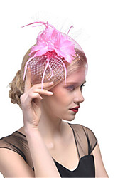 cheap -Women's Ladies Tiaras Fascinators For Wedding Party / Evening Prom Princess Feather Fabric White Blushing Pink Royal Blue