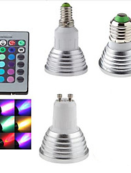 cheap -1pc 3 W LED Spotlight 300 lm E14 GU10 E26 / E27 1 LED Beads SMD Dimmable Remote-Controlled Decorative RGB 85-265 V