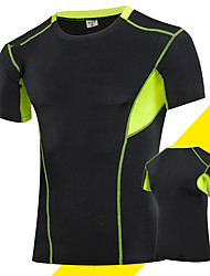 cheap -Men's Compression Shirt Short Sleeve Compression Base layer T Shirt Top Plus Size Lightweight Breathable Quick Dry Soft Sweat-wicking Grey Black / Green Golden+Black Spandex Road Bike Mountain Bike
