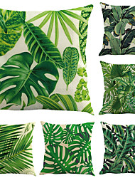 cheap -6 pcs Cotton / Linen Pillow Case, Botanical Leaf Contemporary Holiday Tropical
