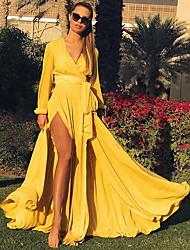 cheap -Women's Swing Dress Red Yellow Green Long Sleeve Deep V M L XL XXL