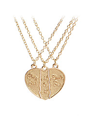cheap -Women's Pendant Necklace Monogram Broken Heart Heart Letter Unique Design Sweet Fashion Modern Chrome Gold Silver 45+5 cm Necklace Jewelry 3pcs For Gift Daily Festival