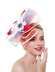 cheap -Women's Ladies Tiaras Fascinators For Wedding Party / Evening Prom Princess Feather Fabric Wine Blushing Pink Red