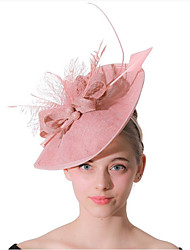 cheap -Women's Ladies Tiaras Fascinators For Wedding Party / Evening Prom Princess Feather Fabric Blushing Pink