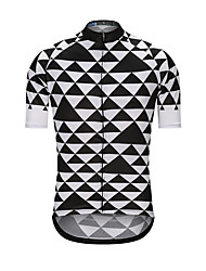 cheap -Men's Short Sleeve Cycling Jersey Black / White Bike Jersey Top Sports Terylene Clothing Apparel / High Elasticity