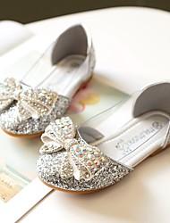 cheap -Girls' Comfort / Flower Girl Shoes PU Flats Toddler(9m-4ys) / Little Kids(4-7ys) / Big Kids(7years +) Bowknot / Sparkling Glitter Silver / Blue / Pink Spring / Fall / Wedding / Party & Evening
